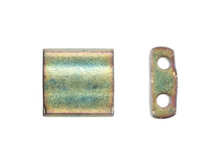 Miyuki 5mm Metallic Matte Sage Rainbow Tila Square Tube Bead 8g Pack