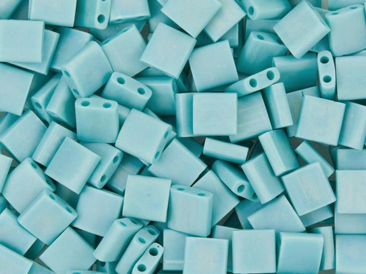 Miyuki 5mm Opaque Frosted Rainbow Aqua Tila Square Bead 8g Pack