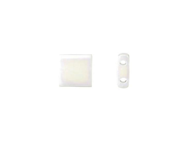 Miyuki 5mm Opaque White Rainbow Tila Square Tube Bead 8g Bag