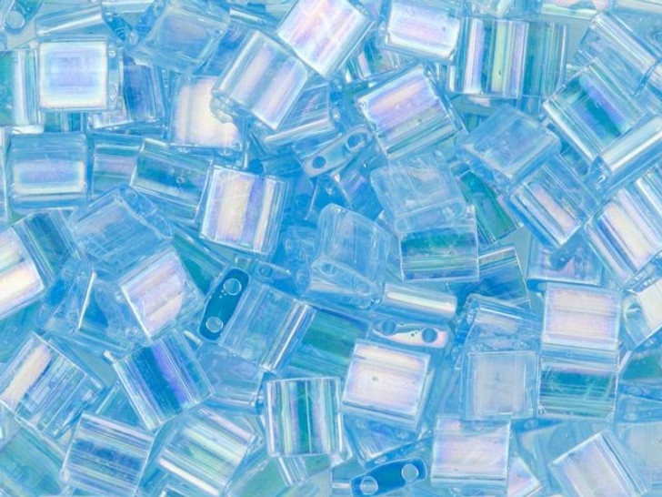 Miyuki 5mm Transparent Rainbow Blue Topaz Tila Square Bead 2.5-Inch Tube