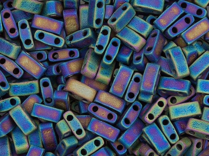 Miyuki 5x2.3mm Opaque Matte Rainbow Black Half Tila Bead 8g Pack