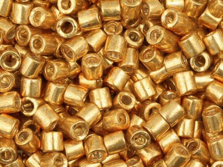 Miyuki 8/0 Galvanized Bright Gold Delicas 2.5-Inch Tube