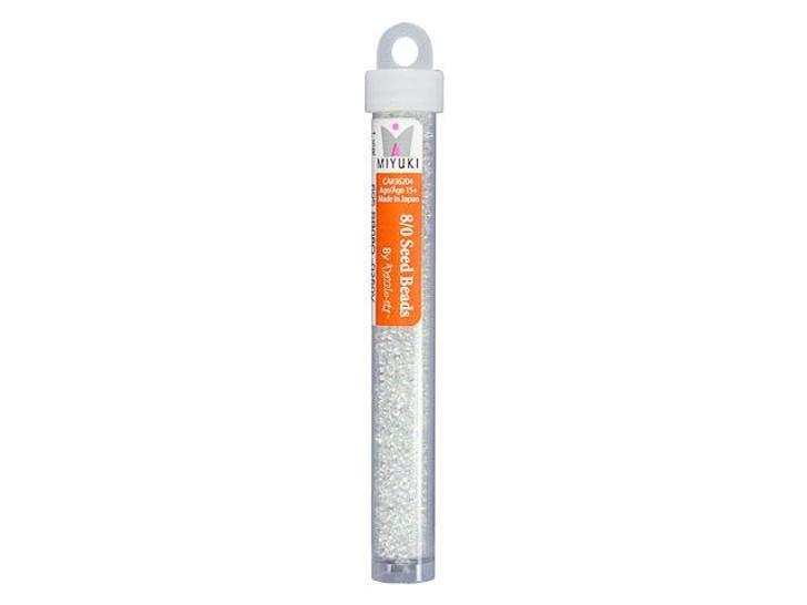 Miyuki 8/0 Round Seed Beads - Crystal AB 22g Vial
