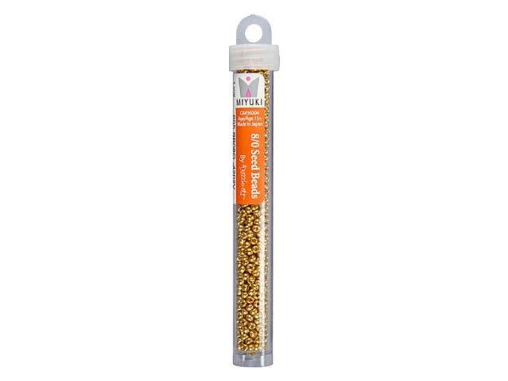 Miyuki 8/0 Round Seed Beads - Duracoat Galvanized Gold 22g Vial
