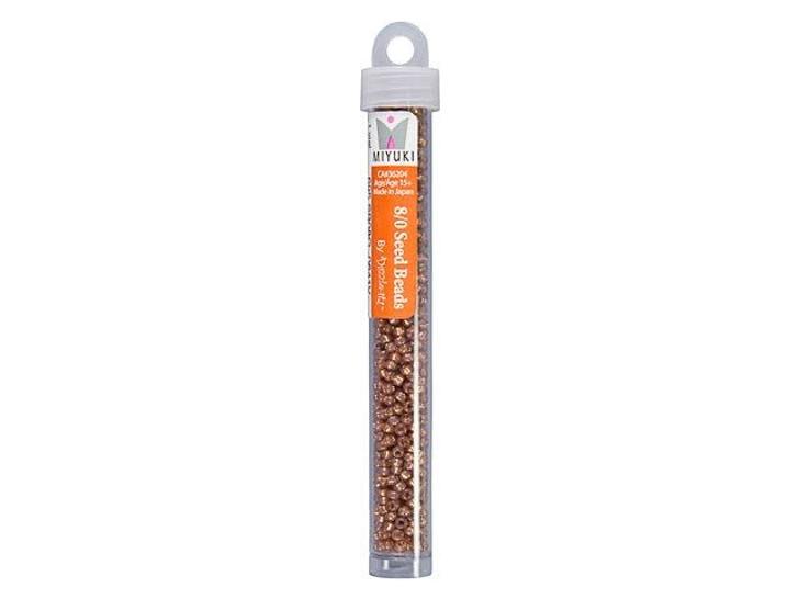 Miyuki 8/0 Round Seed Beads - Silver-Lined Rose Bronze Alabaster 22g Vial