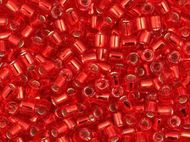 Miyuki 8/0 Transparent Silver Lined Orange Red Delicas, 2.5-Inch Tube