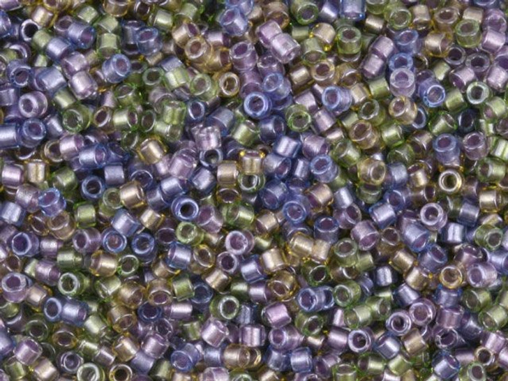 Miyuki 11/0 Color-Lined Sparkle Purple/Bronze Mix Delica Seed Beads 2.5-Inch Tube