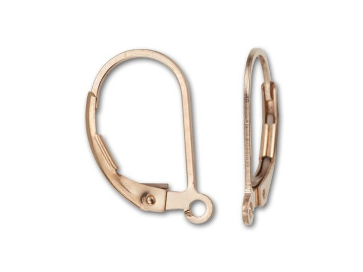 Rose Gold-Filled 14K/20 Leverback Earring with Ring (Pair)