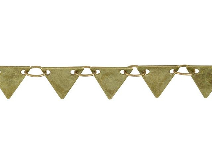 7mm Antique Brass Solid Triangle Drop Chain By the Foot