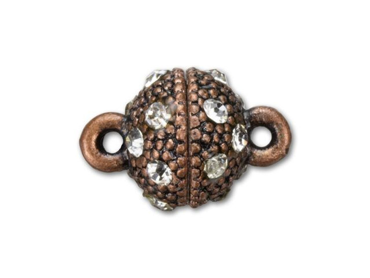 14x10mm Antique Copper-Plated Faceted Rhinestone Magnetic Clasp