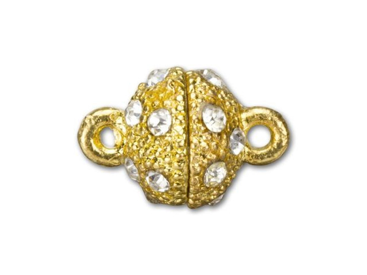 14x10mm Gold-Plated Faceted Rhinestone Magnetic Clasp