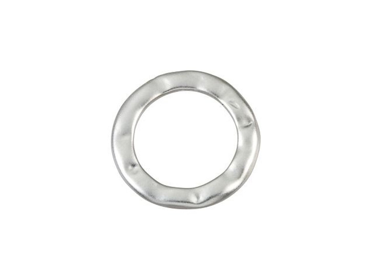 15mm Matte Silver-Plated Pewter Textured Round Link