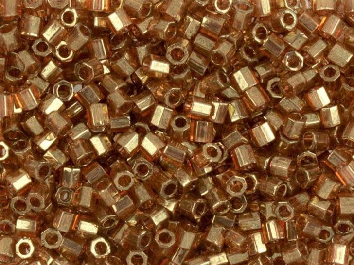 Miyuki 8/0 Transparent Luster Gold Rose Hex Cut Seed Beads, 2.5-Inch Tube