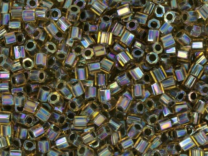 Miyuki 8g 8/0 Transparent Rainbow Green/Violet/Gold Hex Cut Seed Beads