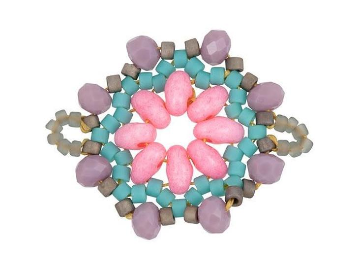 Miyuki Pink/Mauve Floral Circle Beaded Focal Connector Link
