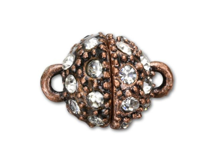 15x11mm Antique Copper-Plated Rhinestone Magnetic Clasp