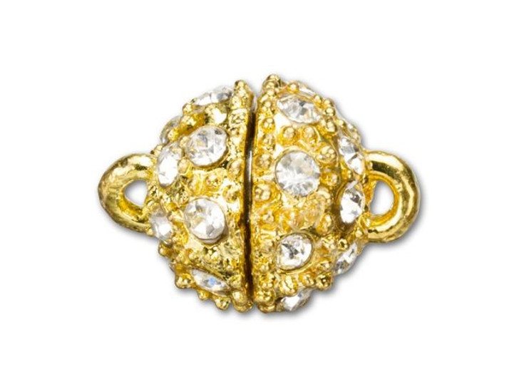 15x11mm Gold-Plated Rhinestone Magnetic Clasp