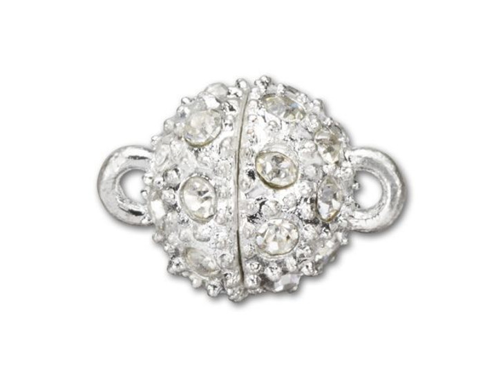 15x11mm Silver-Plated Rhinestone Magnetic Clasp