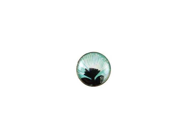 Mother of Pearl 10mm Pohutukawa Flower with Mint Green Round Cabochon
