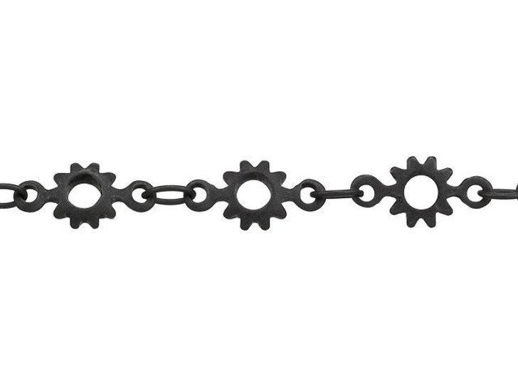 Nite Black-Plated Brass Cog Chain by the Foot