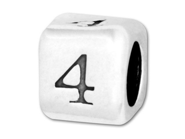 Number Bead 5.8mm Rounded Cube - 4