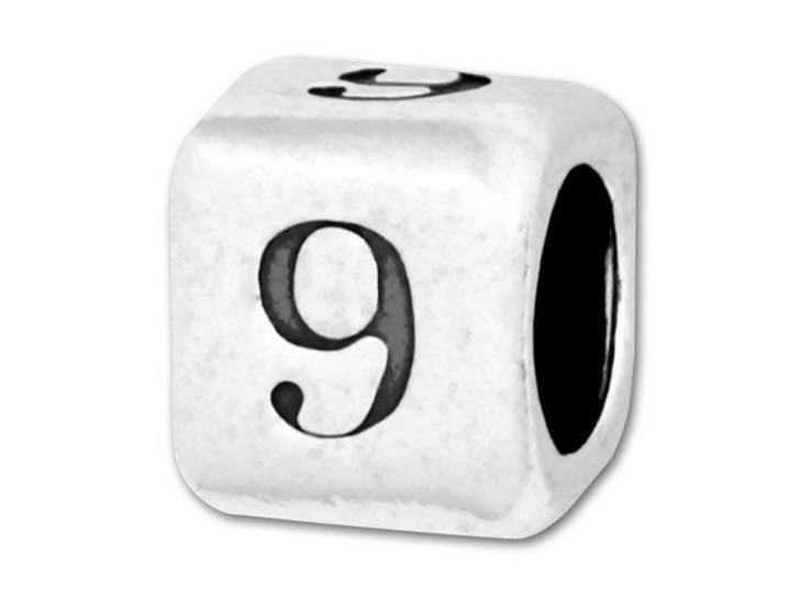 Number Bead 5.8mm Rounded Cube - 9