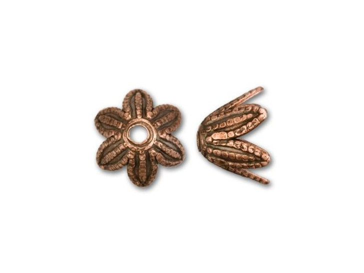 Nunn Design 6mm Antique Copper-Plated Pewter Daisy Bead Cap