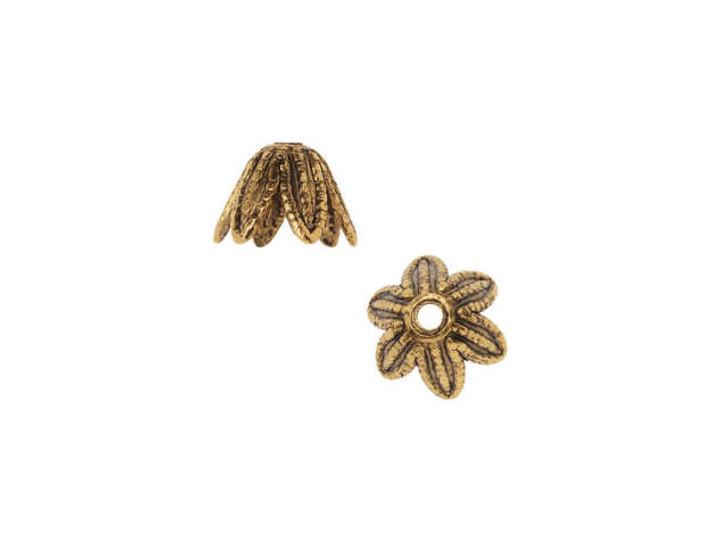 Nunn Design 6mm Antique Gold-Plated Pewter Daisy Bead Cap
