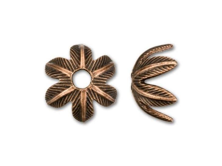 Nunn Design 8mm Antique Copper-Plated Pewter Daisy Bead Cap