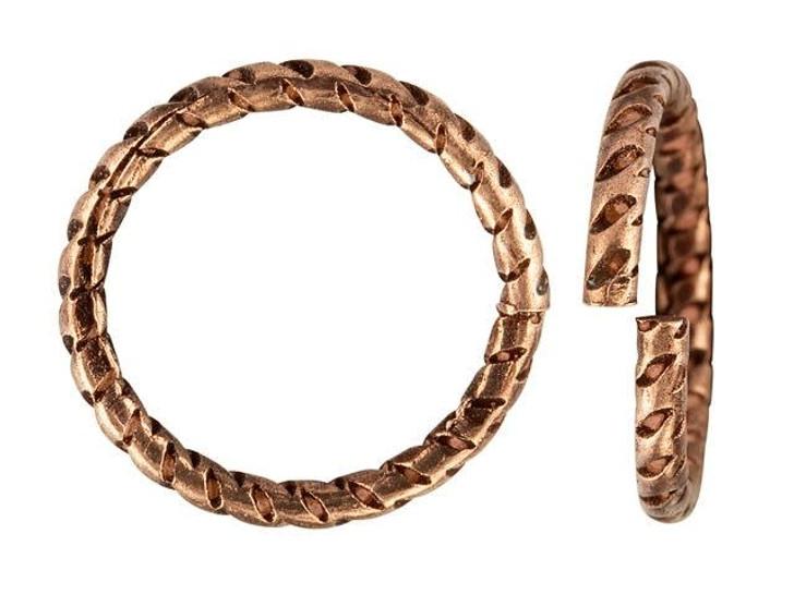 Nunn Design Antique Copper-Plated Brass 12mm Textured Circle Jump Ring