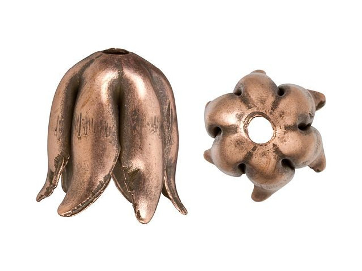 Nunn Design Antique Copper-Plated Brass 8mm Curled Petal Bead Cap