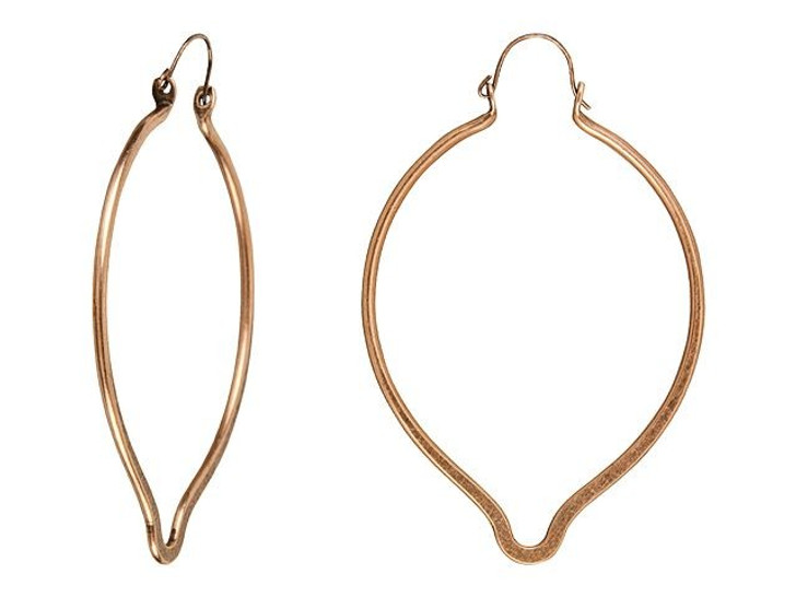 Nunn Design Antique Copper-Plated Brass Large Oval Point Ear Wire (Pair)