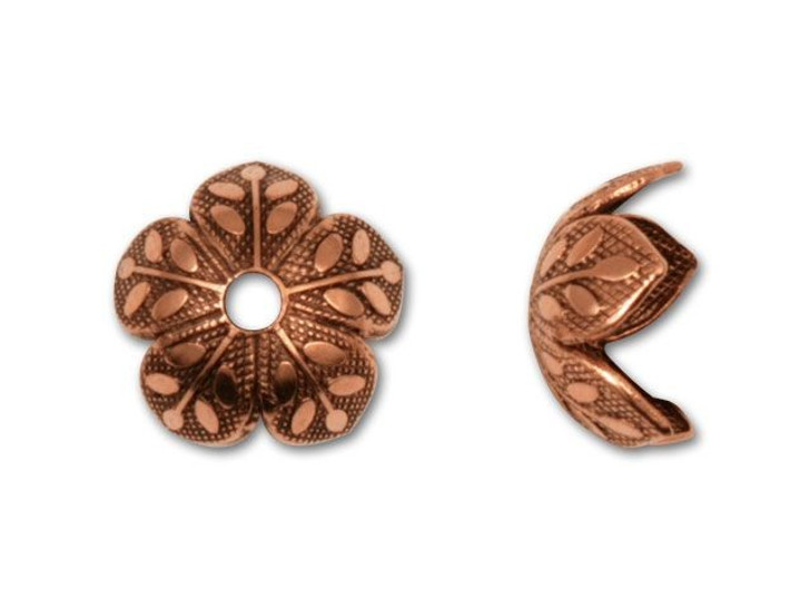 Nunn Design Antique Copper-Plated Pewter Etched Daisy Bead Cap