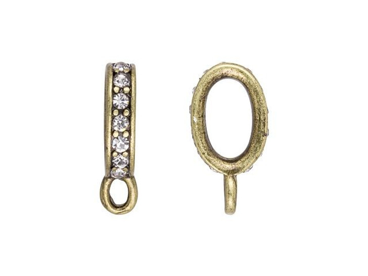 16 x 8.5mm Antique Brass-Plated Pave Crystal Oval Clasp Connector