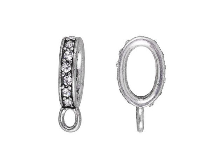 16 x 8.5mm Antique Silver-Plated Pave Crystal Oval Clasp Connector