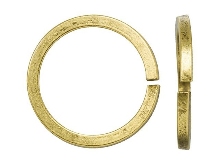 Nunn Design Antique Gold-Plated Brass 12mm Square Wire Jump Ring