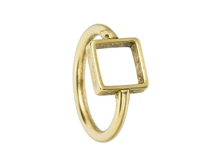 Nunn Design Antique Gold-Plated Brass Itsy Square Open Frame Ring Size 6