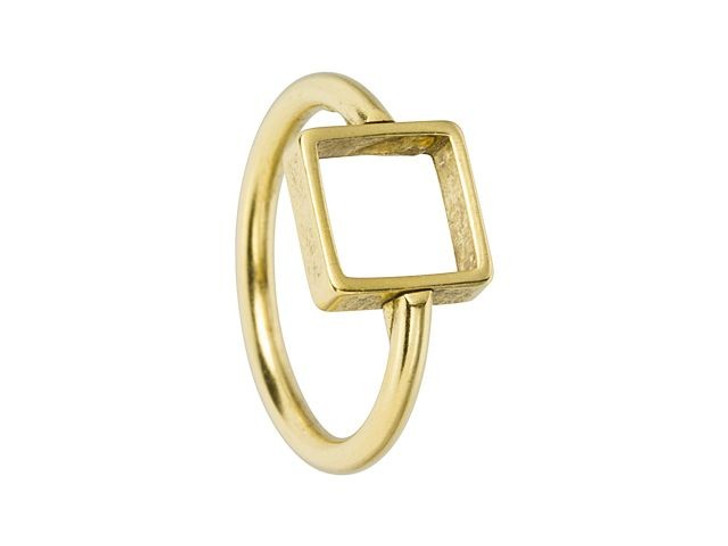Nunn Design Antique Gold-Plated Brass Itsy Square Open Frame Ring Size 7