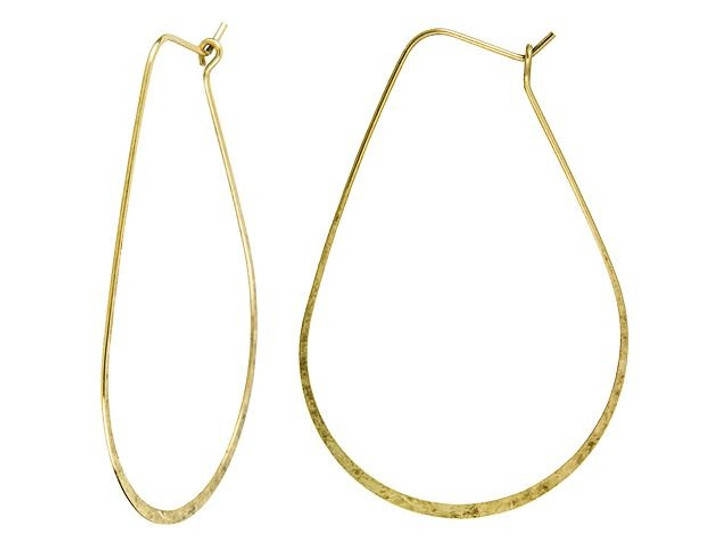 Nunn Design Antique Gold-Plated Brass Large Oval Hoop Ear Wire (Pair)