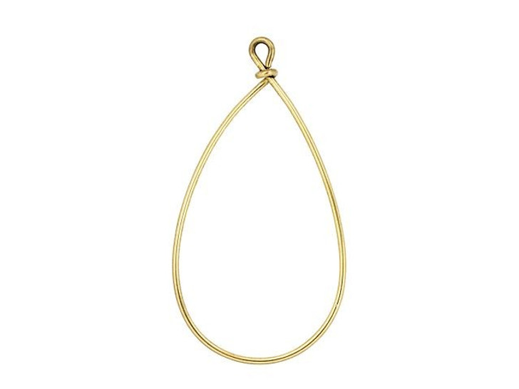 Nunn Design Antique Gold-Plated Brass Large Wire Frame Pear Pendant