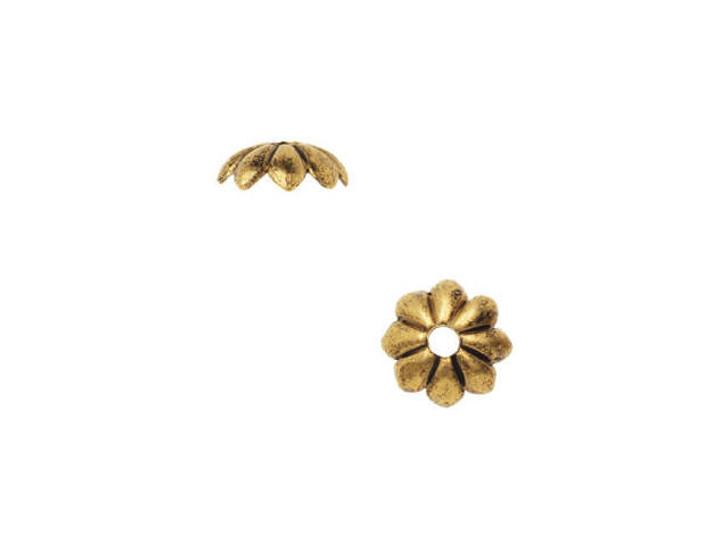 Nunn Design Antique Gold-Plated Brass Petal Bead Cap