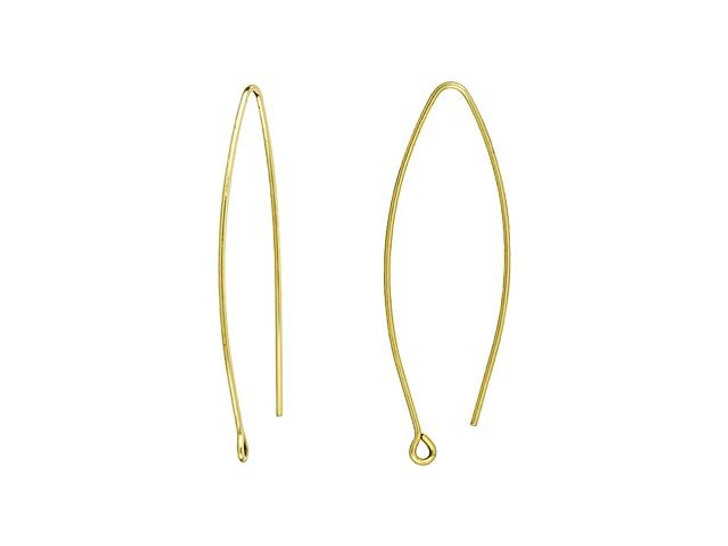 Nunn Design Antique Gold-Plated Brass Small Open Oval Ear Wire (Pair)