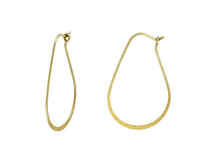 Nunn Design Antique Gold-Plated Brass Small Oval Hoop Ear Wire (Pair)