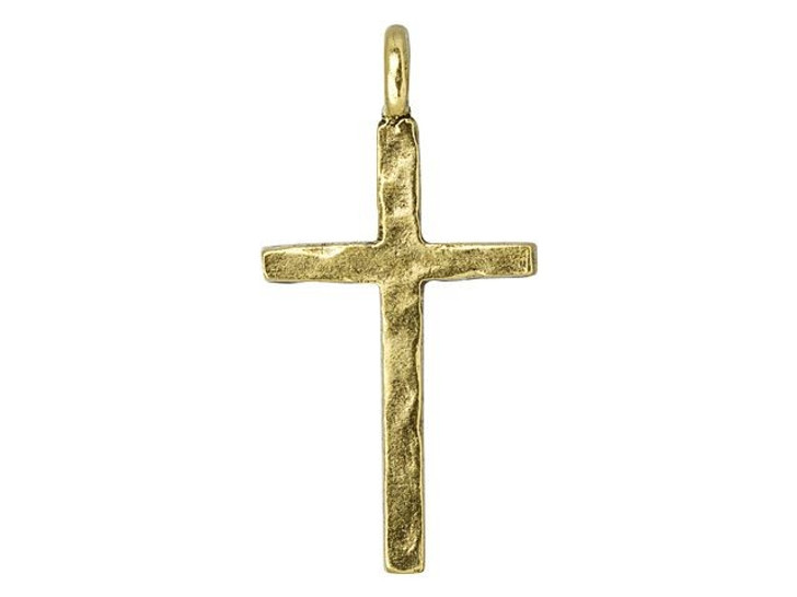 Nunn Design Antique Gold-Plated Pewter Hammered Traditional Cross Charm
