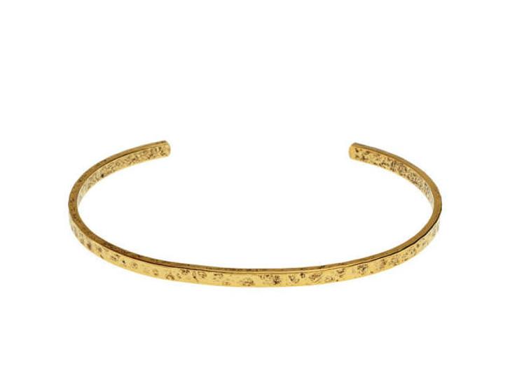 Nunn Design Antique Gold-Plated Pewter Thin Hammered Cuff Bracelet