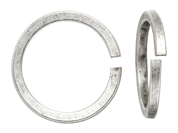 Nunn Design Antique Silver-Plated Brass 12mm Square Wire Jump Ring