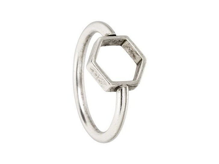 Nunn Design Antique Silver-Plated Brass Itsy Hex Open Frame Ring Size 7