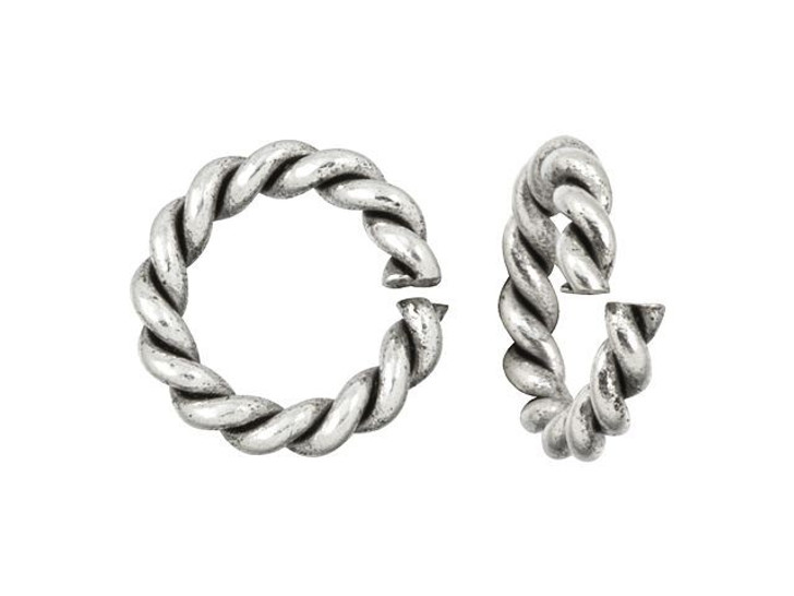 Nunn Design Antique Silver-Plated Brass Mini Rope Jump Ring