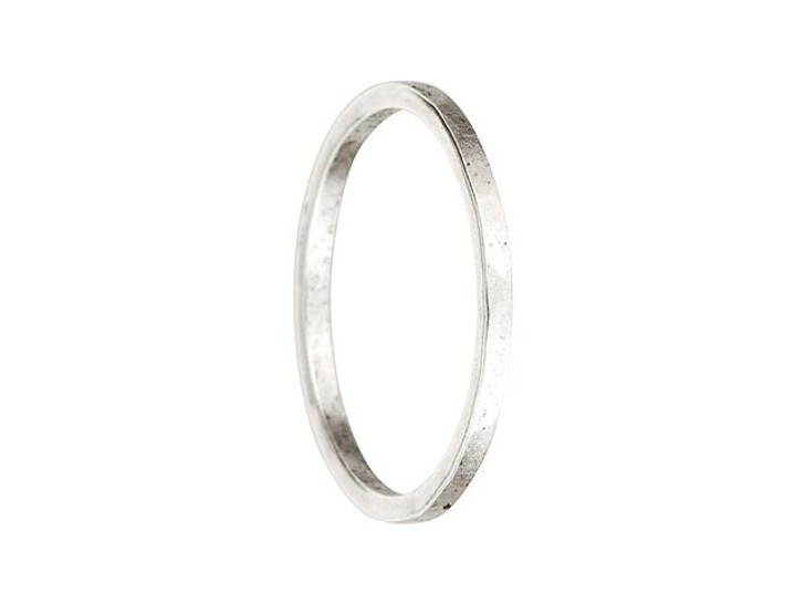 Nunn Design Antique Silver-Plated Brass Thin Hammered Ring Size 6
