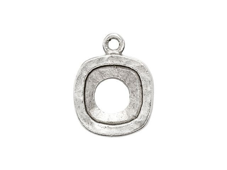 Nunn Design Antique Silver-Plated Pewter 12mm Open Back Bezel Square Charm
